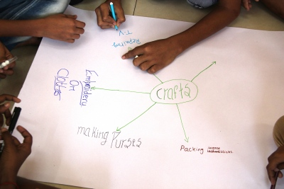 Brainstorming Mariamma Nagar crafts in the classroom