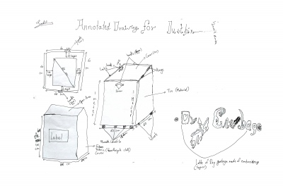 Sadik's final drawing for the recycling and wet waste bins
