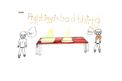 Vivek's first design for a 'debating not fighting' table